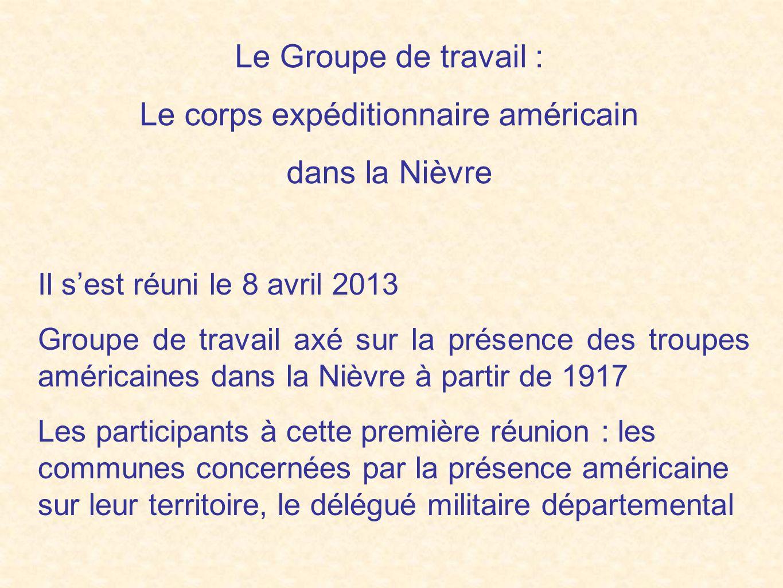 La Nièvre a été l'un des lieux de stationnement important du soutien logistique américain en France, notamment pour le service de santé : hôpitaux de Mars et Mesves Quelques chiffres : Le secteur santé de Mesves a été le plus important de tout le dispositif en France : - 9 hôpitaux de campagne - capacité instantanée de 10 496 lits - 13 500 patients jusqu'en mars 1919