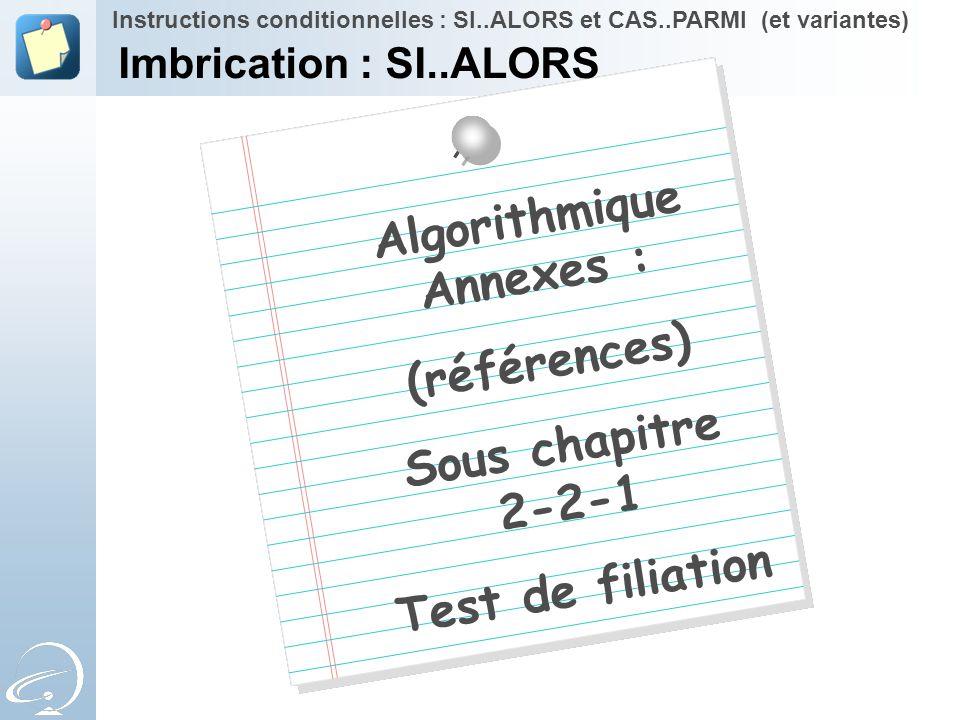 Algorithmique Annexes : (références) Sous chapitre 2-2-1 Test de filiation Instructions conditionnelles : SI..ALORS et CAS..PARMI (et variantes) Imbri