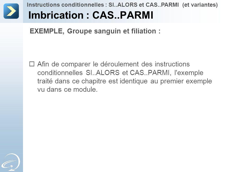  Afin de comparer le déroulement des instructions conditionnelles SI..ALORS et CAS..PARMI, l'exemple traité dans ce chapitre est identique au premier