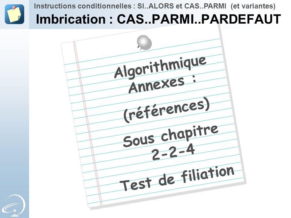 Algorithmique Annexes : (références) Sous chapitre 2-2-4 Test de filiation Instructions conditionnelles : SI..ALORS et CAS..PARMI (et variantes) Imbri