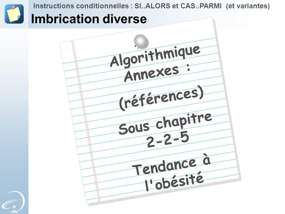 Algorithmique Annexes : (références) Sous chapitre 2-2-5 Tendance à l'obésité Instructions conditionnelles : SI..ALORS et CAS..PARMI (et variantes) Im