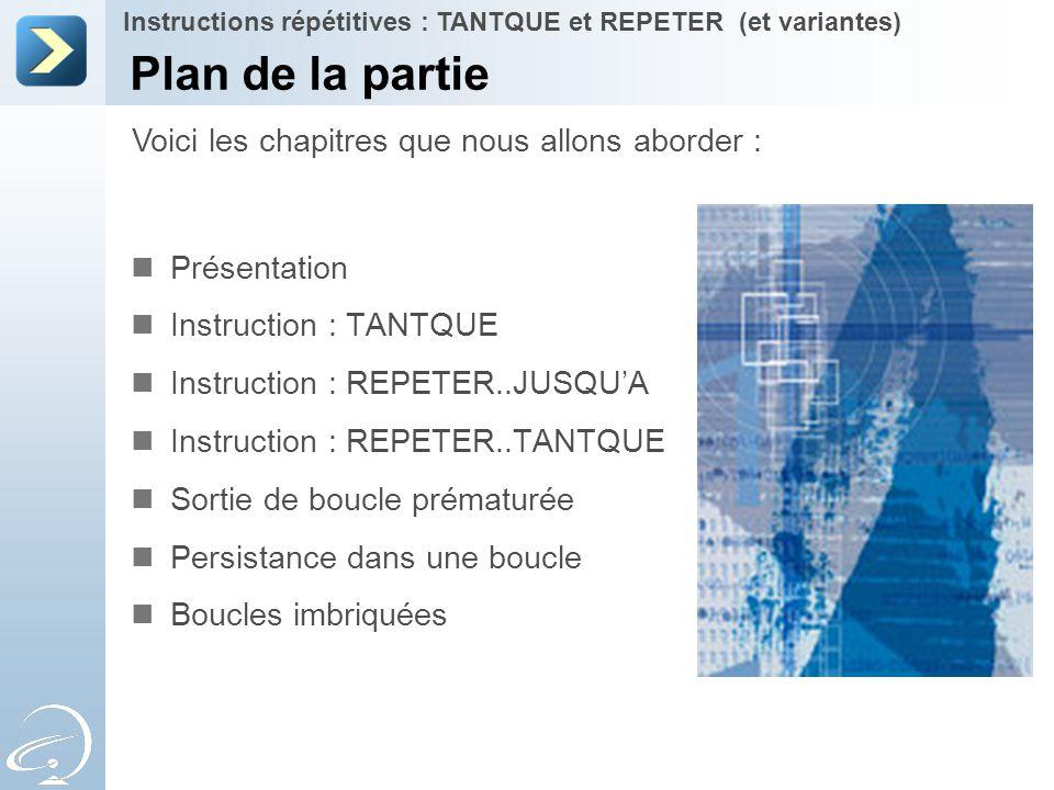 Plan de la partie Présentation Instruction : TANTQUE Instruction : REPETER..JUSQU'A Instruction : REPETER..TANTQUE Sortie de boucle prématurée Persist