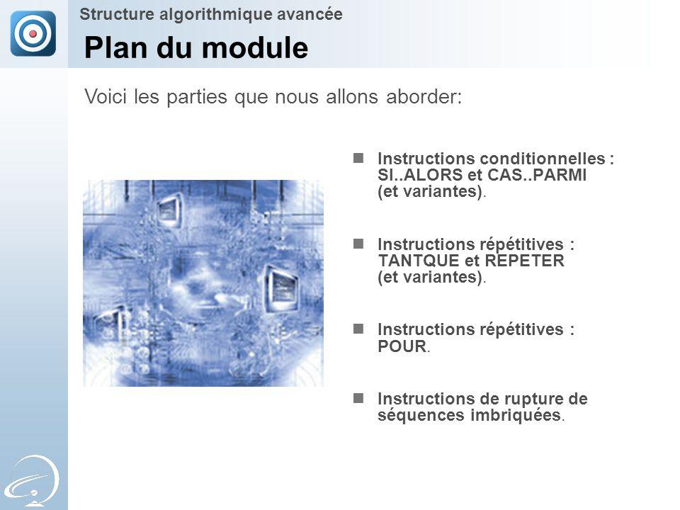 Plan du module Instructions conditionnelles : SI..ALORS et CAS..PARMI (et variantes). Instructions répétitives : TANTQUE et REPETER (et variantes). In