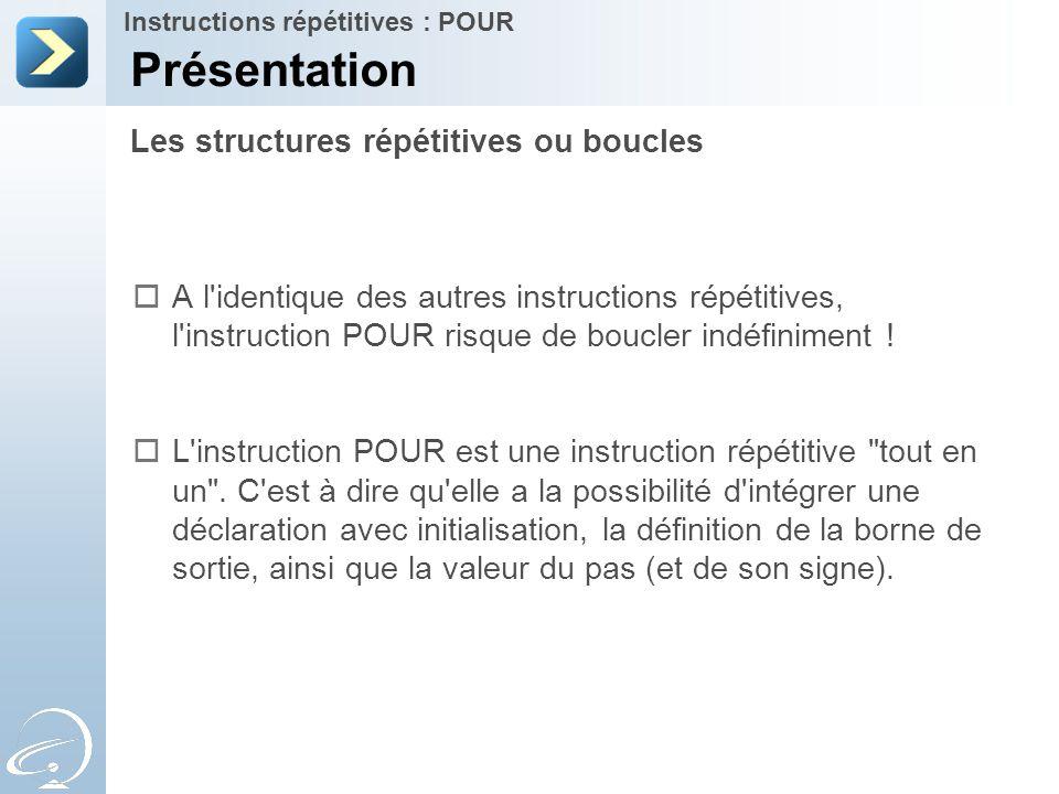 Les structures répétitives ou boucles Présentation Instructions répétitives : POUR  A l'identique des autres instructions répétitives, l'instruction