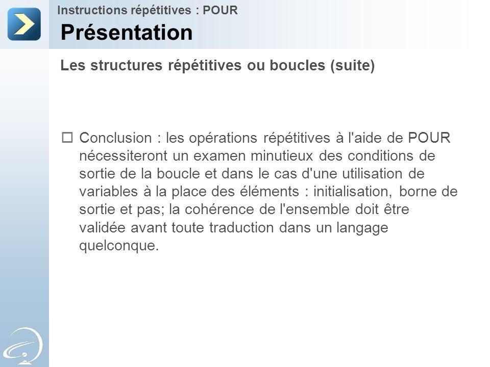 Les structures répétitives ou boucles (suite) Présentation Instructions répétitives : POUR  Conclusion : les opérations répétitives à l'aide de POUR