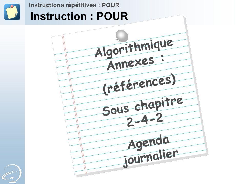 Algorithmique Annexes : (références) Sous chapitre 2-4-2 Agenda journalier Instructions répétitives : POUR Instruction : POUR