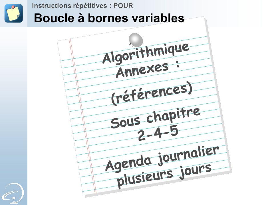 Algorithmique Annexes : (références) Sous chapitre 2-4-5 Agenda journalier plusieurs jours Instructions répétitives : POUR Boucle à bornes variables