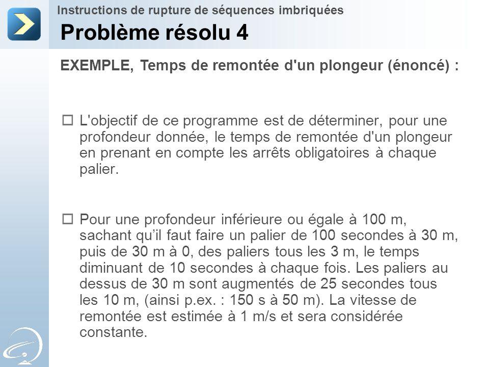 EXEMPLE, Temps de remontée d'un plongeur (énoncé) : Problème résolu 4 Instructions de rupture de séquences imbriquées  L'objectif de ce programme est