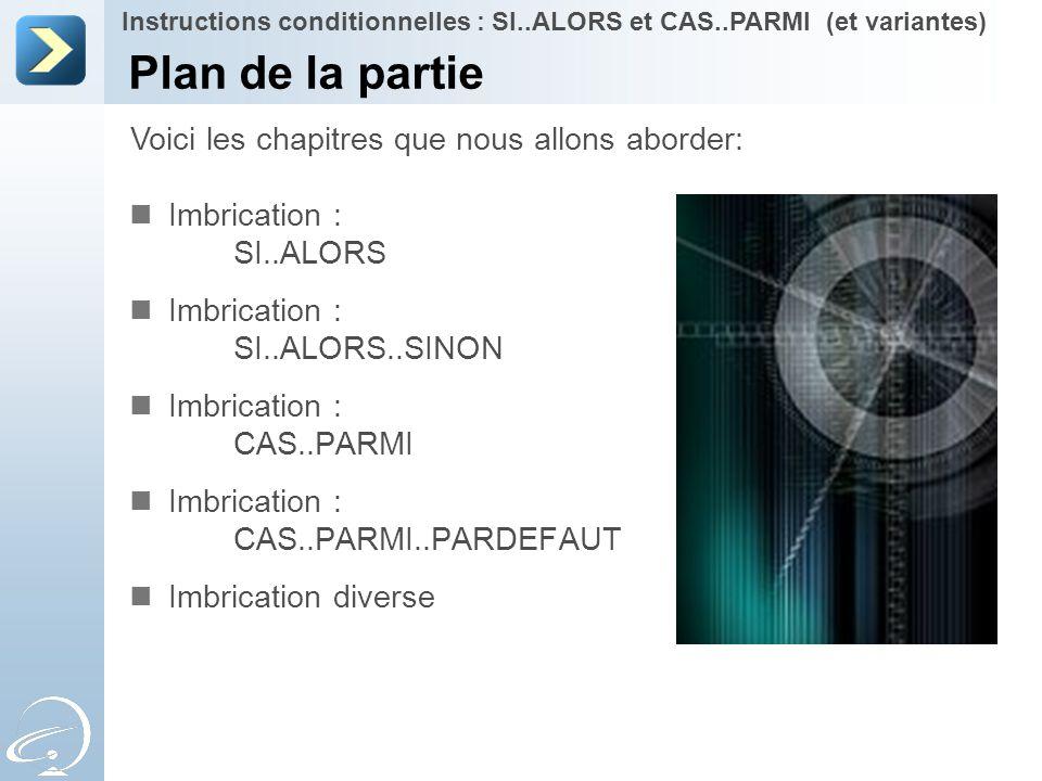 Plan de la partie Imbrication : SI..ALORS Imbrication : SI..ALORS..SINON Imbrication : CAS..PARMI Imbrication : CAS..PARMI..PARDEFAUT Imbrication dive