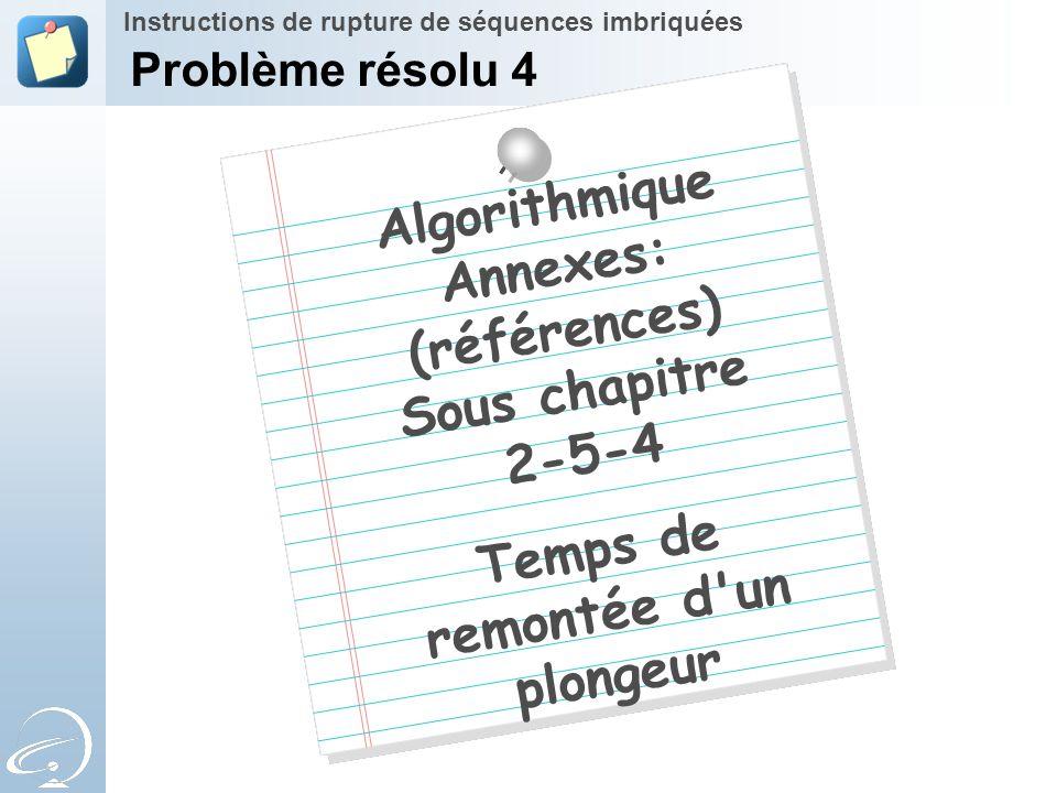 Algorithmique Annexes: (références) Sous chapitre 2-5-4 Temps de remontée d'un plongeur Instructions de rupture de séquences imbriquées Problème résol