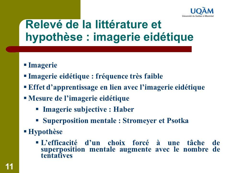 11 Relevé de la littérature et hypothèse : imagerie eidétique  Imagerie  Imagerie eidétique : fréquence très faible  Effet d'apprentissage en lien