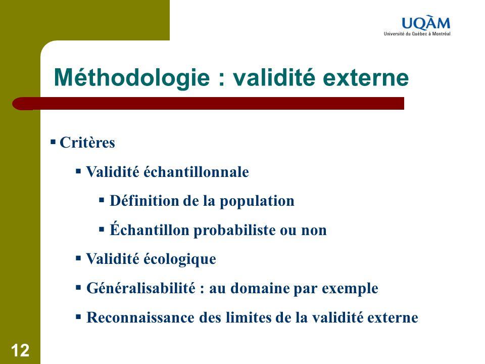 12 Méthodologie : validité externe  Critères  Validité échantillonnale  Définition de la population  Échantillon probabiliste ou non  Validité éc