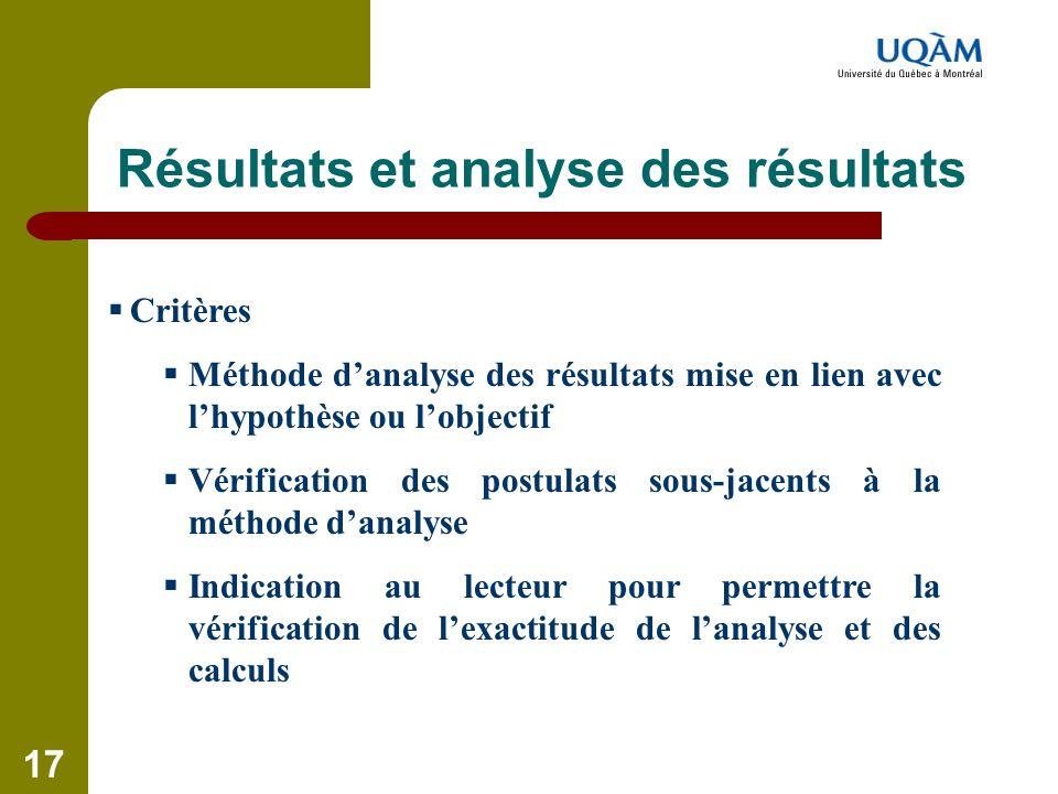 17 Résultats et analyse des résultats  Critères  Méthode d'analyse des résultats mise en lien avec l'hypothèse ou l'objectif  Vérification des post