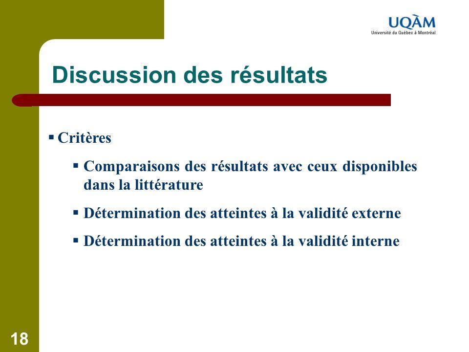 18 Discussion des résultats  Critères  Comparaisons des résultats avec ceux disponibles dans la littérature  Détermination des atteintes à la valid