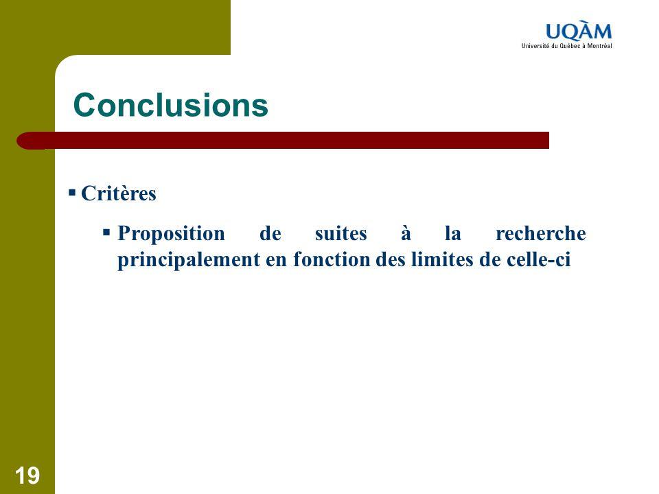 19 Conclusions  Critères  Proposition de suites à la recherche principalement en fonction des limites de celle-ci