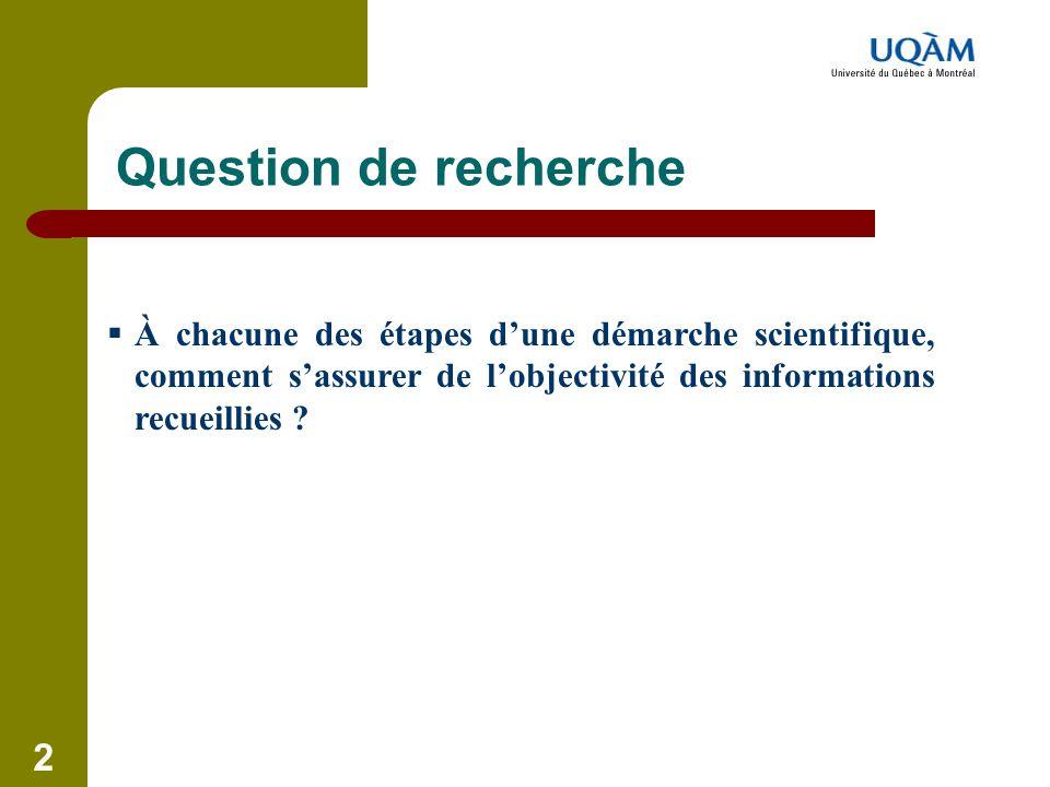 2 Question de recherche  À chacune des étapes d'une démarche scientifique, comment s'assurer de l'objectivité des informations recueillies ?