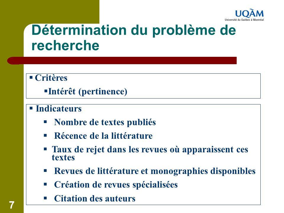 7 Détermination du problème de recherche  Critères  Intérêt (pertinence)  Indicateurs  Nombre de textes publiés  Récence de la littérature  Taux