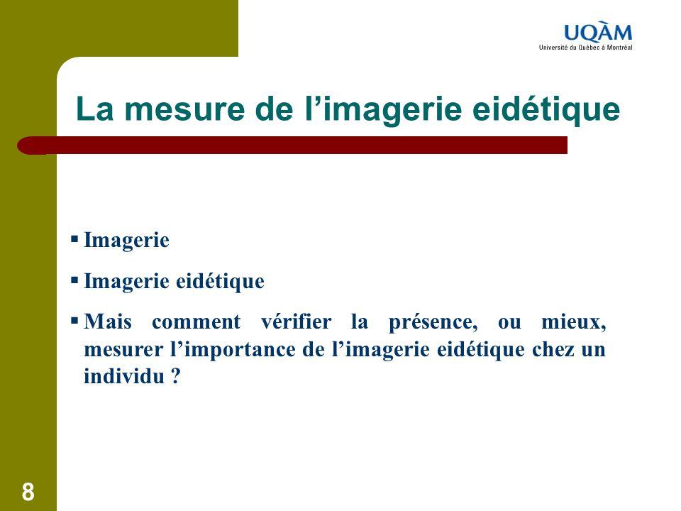 8 La mesure de l'imagerie eidétique  Imagerie  Imagerie eidétique  Mais comment vérifier la présence, ou mieux, mesurer l'importance de l'imagerie