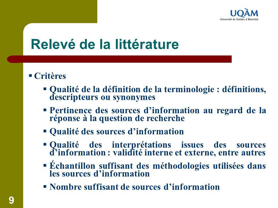 9 Relevé de la littérature  Critères  Qualité de la définition de la terminologie : définitions, descripteurs ou synonymes  Pertinence des sources