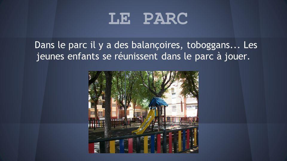 LE PARC Dans le parc il y a des balançoires, toboggans...