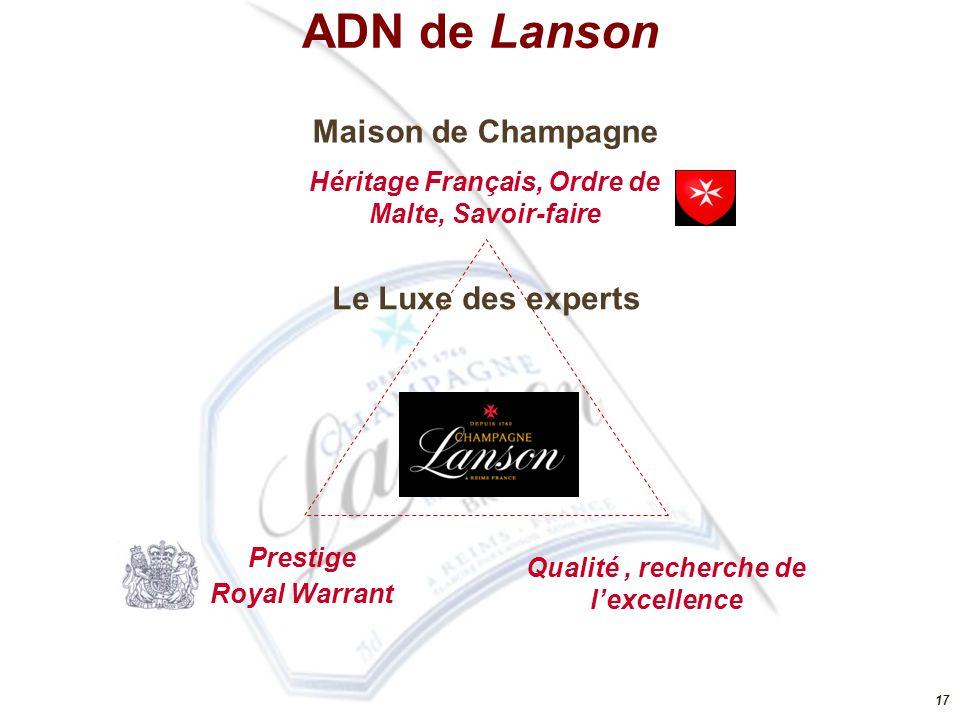 17 Prestige Royal Warrant Qualité, recherche de l'excellence Maison de Champagne Héritage Français, Ordre de Malte, Savoir-faire Le Luxe des experts A