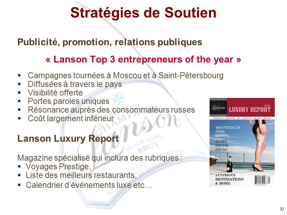 33 Publicité, promotion, relations publiques « Lanson Top 3 entrepreneurs of the year »  Campagnes tournées à Moscou et à Saint-Pétersbourg  Diffusé