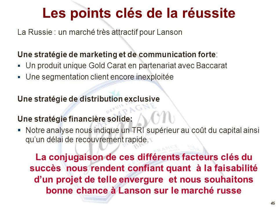 45 Les points clés de la réussite La Russie : un marché très attractif pour Lanson Une stratégie de marketing et de communication forte:  Un produit