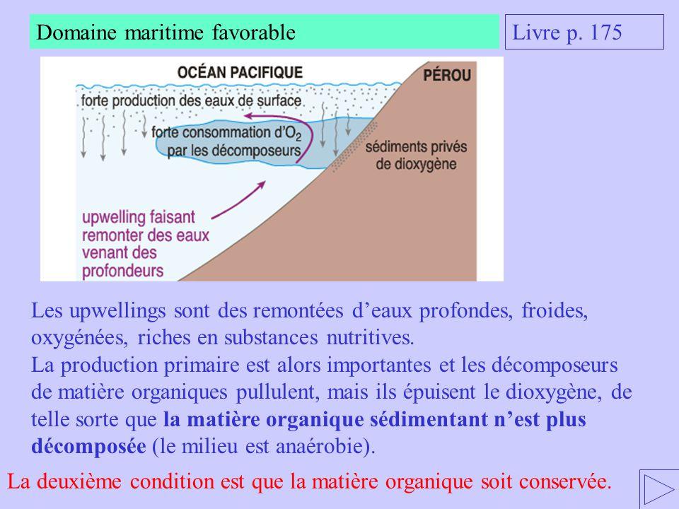 Livre p. 175 Domaine maritime favorable Les upwellings sont des remontées d'eaux profondes, froides, oxygénées, riches en substances nutritives. La pr