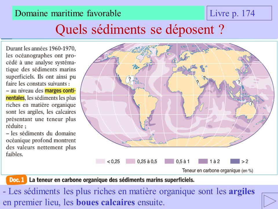 Quels sédiments se déposent ? Livre p. 174 Domaine maritime favorable - Les sédiments les plus riches en matière organique sont les argiles en premier