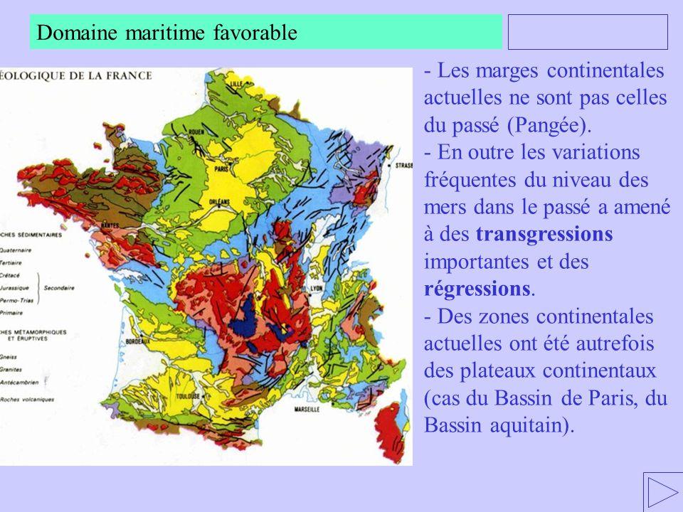- Les marges continentales actuelles ne sont pas celles du passé (Pangée). - En outre les variations fréquentes du niveau des mers dans le passé a ame
