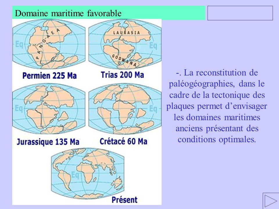 -. La reconstitution de paléogéographies, dans le cadre de la tectonique des plaques permet d'envisager les domaines maritimes anciens présentant des