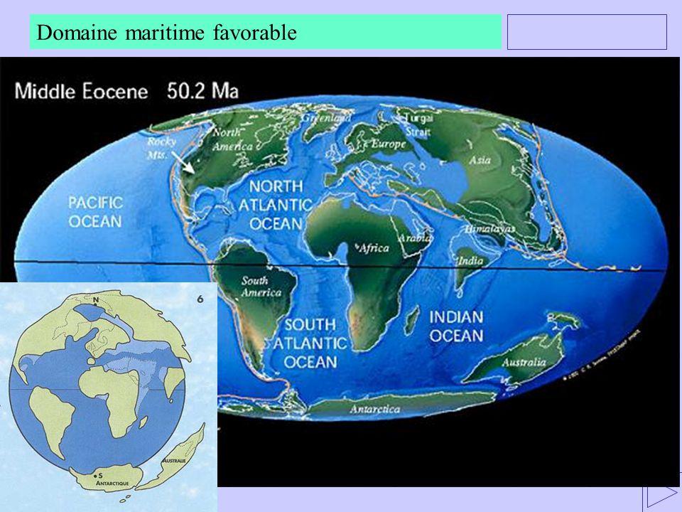 Domaine maritime favorable -. La reconstitution de paléogéographies, dans le cadre de la tectonique des plaques permet d'envisager les domaines mariti