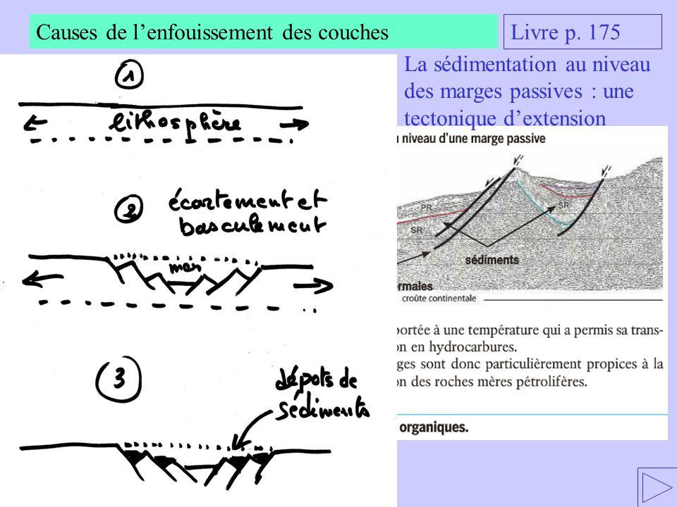 Causes de l'enfouissement des couches Livre p. 175 La sédimentation au niveau des marges passives : une tectonique d'extension