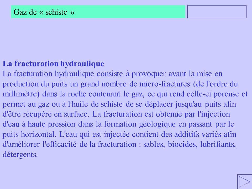 Gaz de « schiste » La fracturation hydraulique La fracturation hydraulique consiste à provoquer avant la mise en production du puits un grand nombre d
