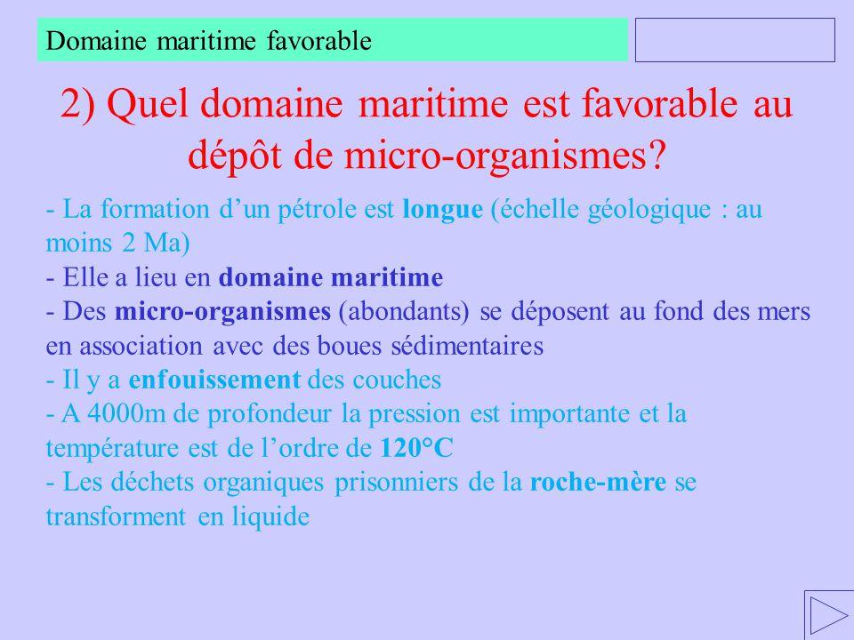 2) Quel domaine maritime est favorable au dépôt de micro-organismes? Domaine maritime favorable - La formation d'un pétrole est longue (échelle géolog