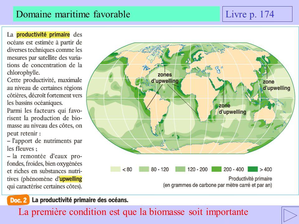 Domaine maritime favorable A quel domaine maritime appartiennent les zones à fortes biomasses ?
