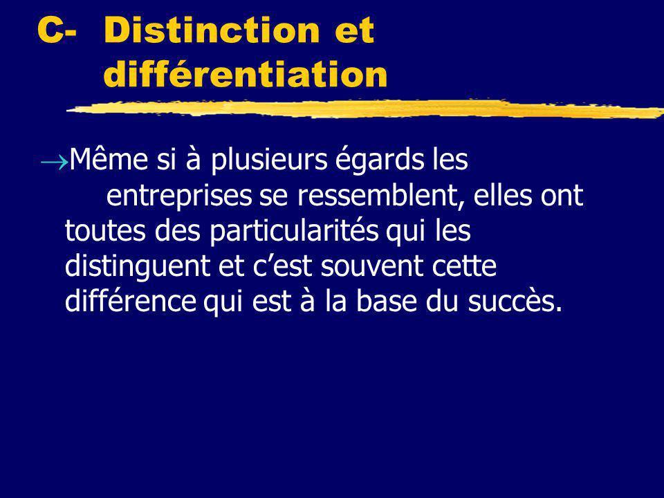C- Distinction et différentiation  Même si à plusieurs égards les entreprises se ressemblent, elles ont toutes des particularités qui les distinguent