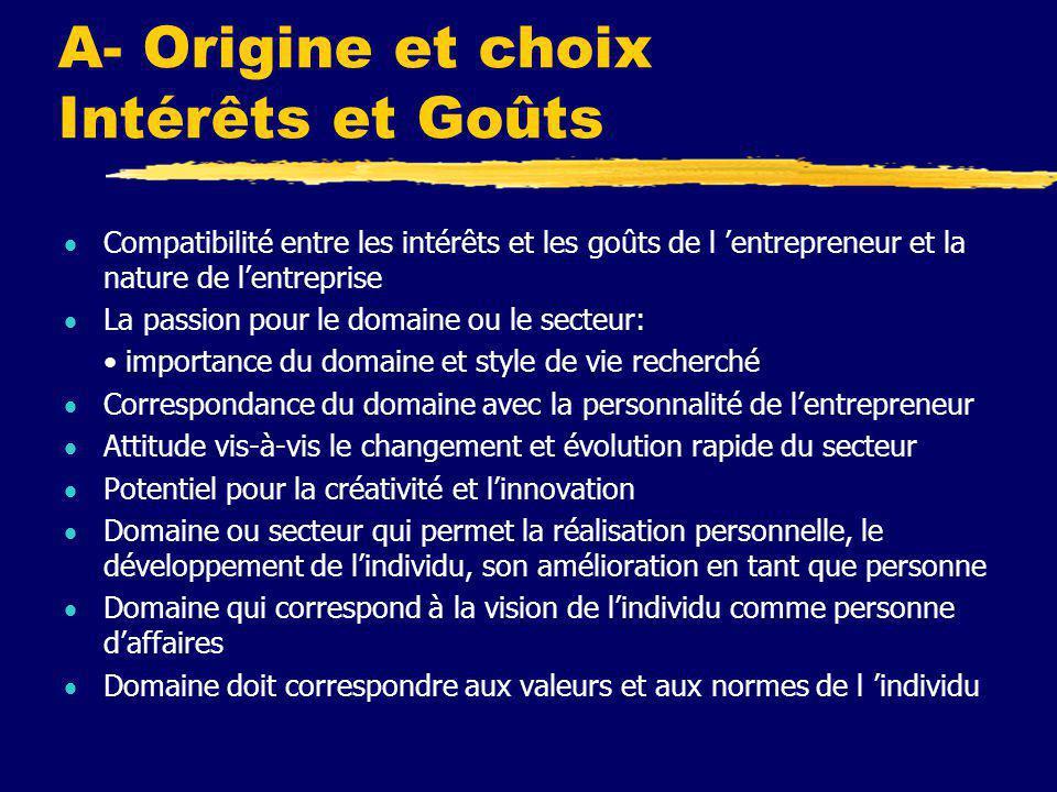 A- Origine et choix Intérêts et Goûts  Compatibilité entre les intérêts et les goûts de l 'entrepreneur et la nature de l'entreprise  La passion pou