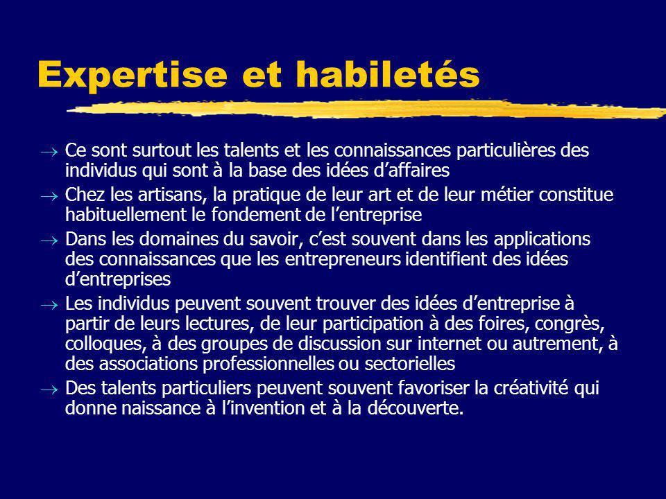 Expertise et habiletés  Ce sont surtout les talents et les connaissances particulières des individus qui sont à la base des idées d'affaires  Chez l