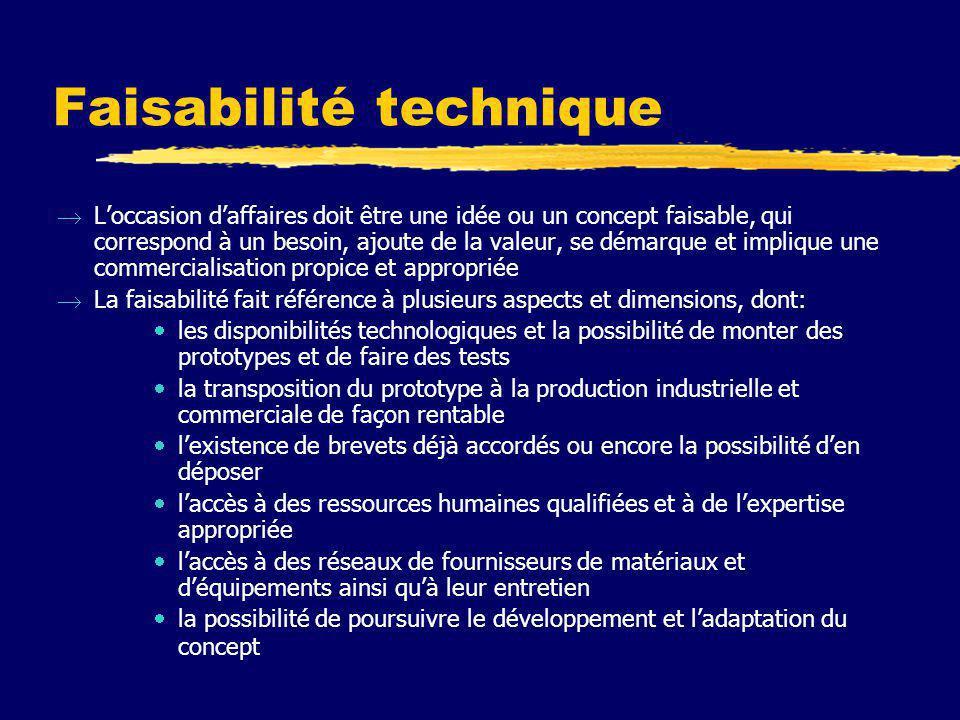 Faisabilité technique  L'occasion d'affaires doit être une idée ou un concept faisable, qui correspond à un besoin, ajoute de la valeur, se démarque