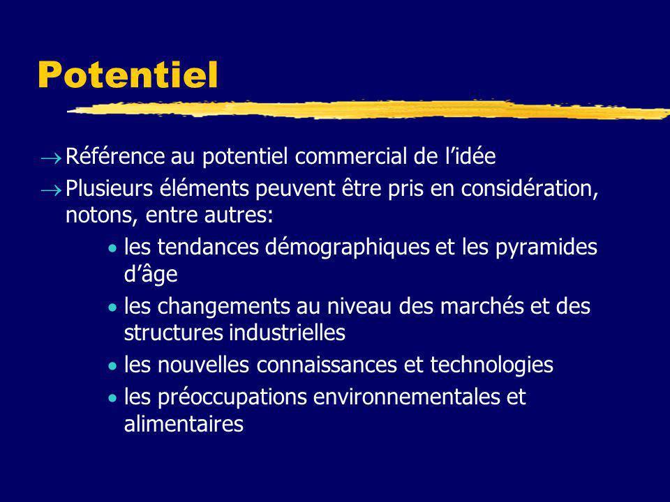Potentiel  Référence au potentiel commercial de l'idée  Plusieurs éléments peuvent être pris en considération, notons, entre autres:  les tendances