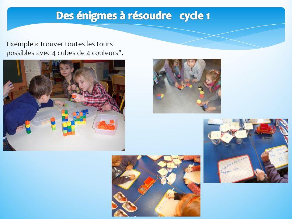 Exemple « Trouver toutes les tours possibles avec 4 cubes de 4 couleurs .