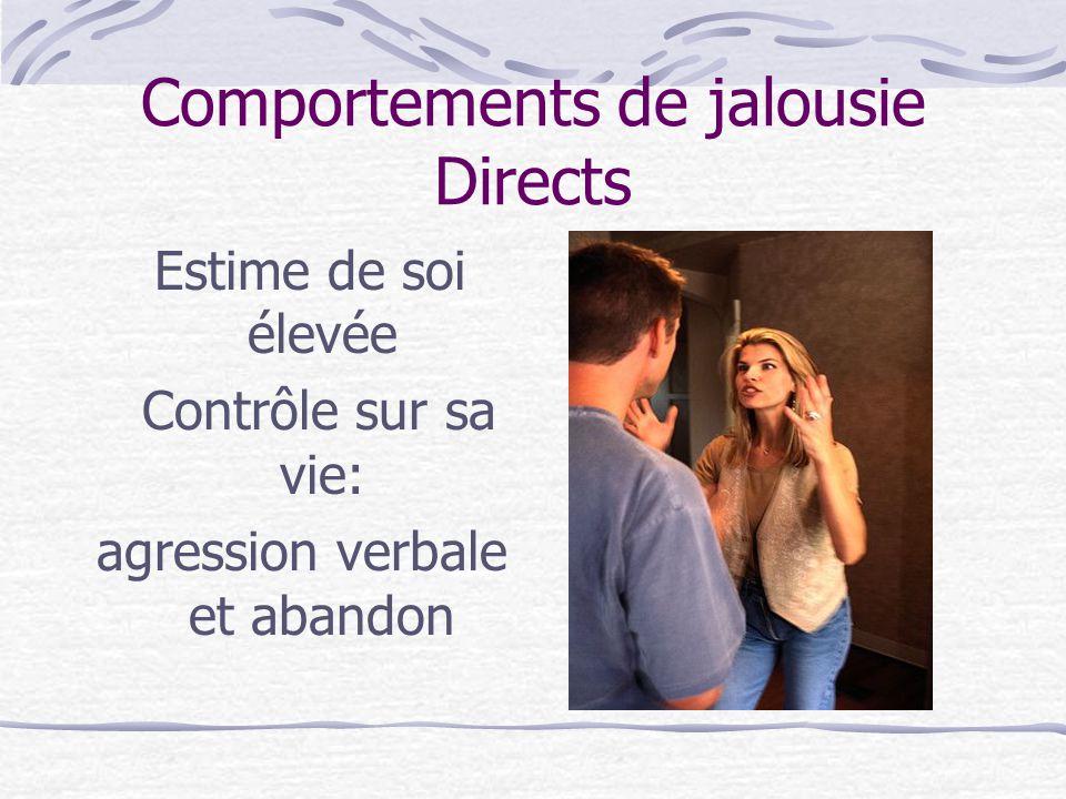 Comportements de jalousie Directs Estime de soi élevée Contrôle sur sa vie: agression verbale et abandon