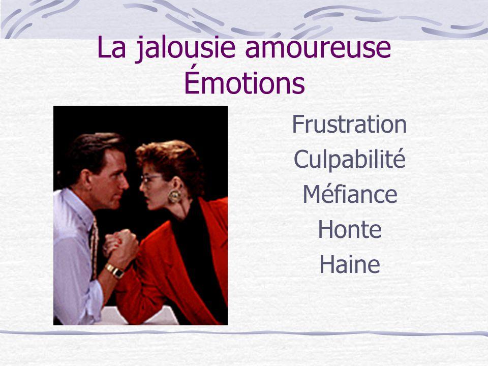 Comportements de jalousie Indirects L'individu à faible estime de soi Comportements passifs ou indirects Silence-pleurs