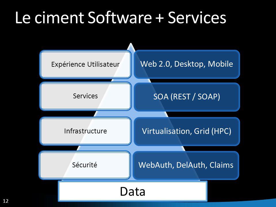 12 Le ciment Software + Services Web 2.0, Desktop, MobileSOA (REST / SOAP)Virtualisation, Grid (HPC)WebAuth, DelAuth, Claims Expérience UtilisateurServicesInfrastructureSécurité Data