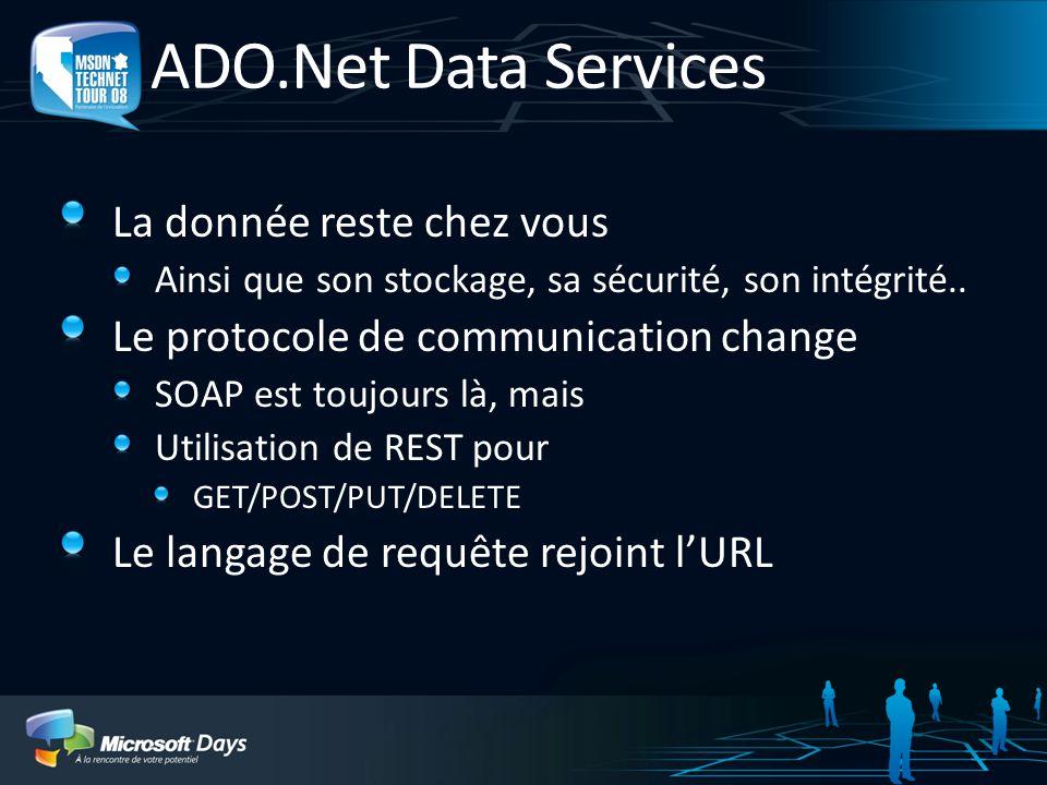 ADO.Net Data Services La donnée reste chez vous Ainsi que son stockage, sa sécurité, son intégrité..