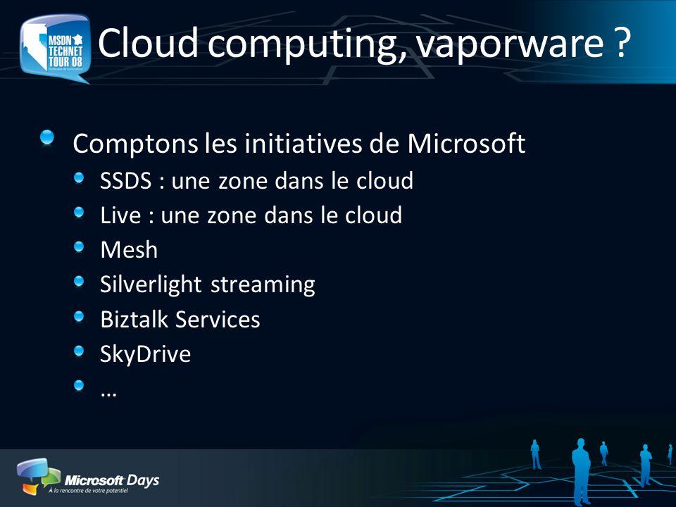 Cloud computing, vaporware .