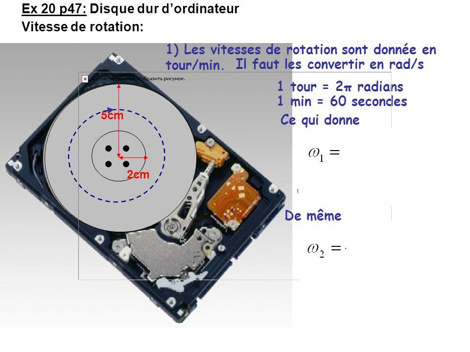 2cm 5cm Ex 20 p47: Disque dur d'ordinateur Vitesse de rotation: ω 1 =4500 tours/min ou ω 2 =10000 tours/min 1) Les vitesses de rotation sont donnée en tour/min.