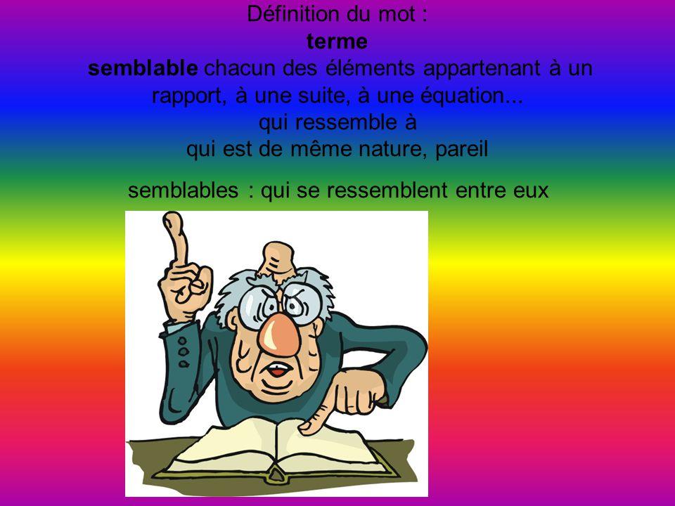 Définition du mot : terme semblable chacun des éléments appartenant à un rapport, à une suite, à une équation...