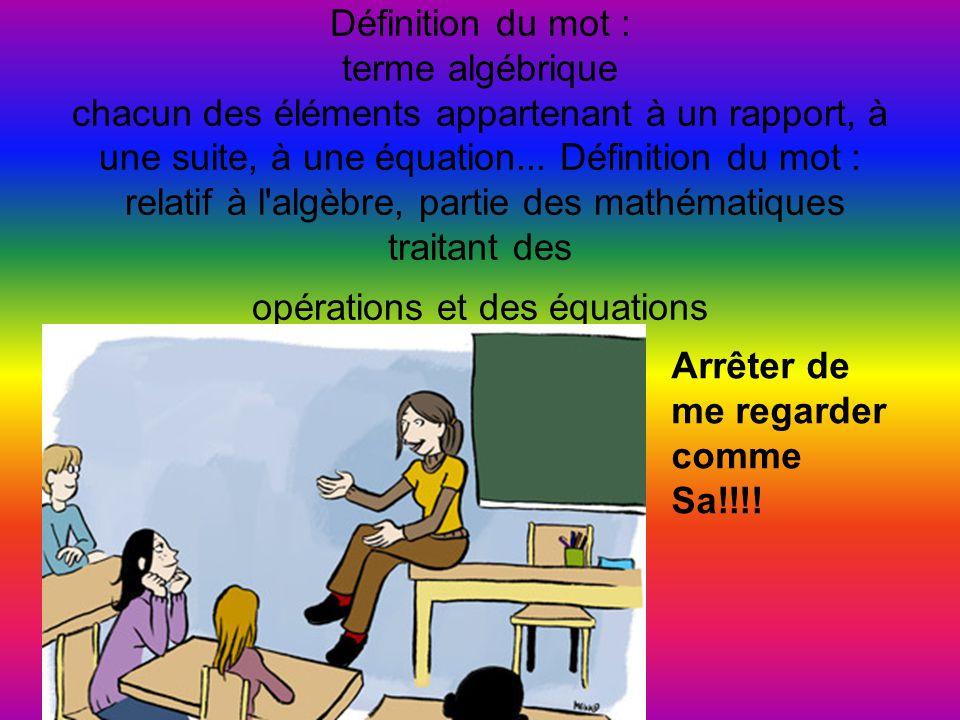 Définition du mot : terme algébrique chacun des éléments appartenant à un rapport, à une suite, à une équation...